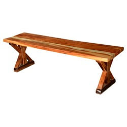 "Rustic X Legs Acacia Wood 59"" Backless Bench"