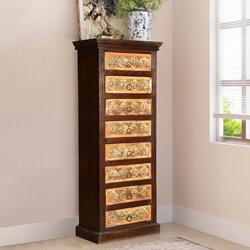 Golden Gothic Mango Wood 8 Drawer Tower Dresser Chest
