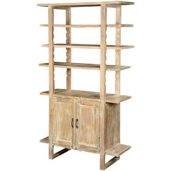 "Beyond the Edge Winter White Mango Wood 70.5"" Wall Unit Cabinet"