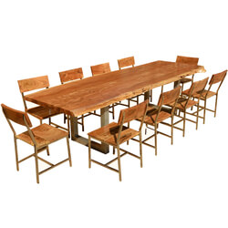 "Live Edge Acacia Wood & Iron 117"" Modern Dining Table & 10 Chairs"