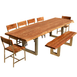 "117"" Live Edge Dining Table w 6 Chairs & Bench - Acacia Wood & Iron"