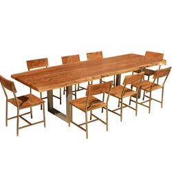 "Live Edge Acacia Wood & Iron 106"" Modern Dining Table & 8 Chairs"