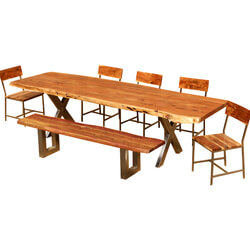 "Live Edge Acacia Wood & Iron 106"" Dining Table w 5 Chairs & Bench"