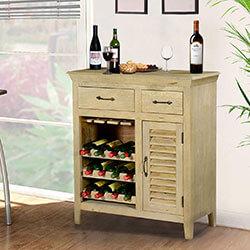 Oklahoma Rustic Mango Wood 2 Drawer Bar Cabinet with Wine Storage