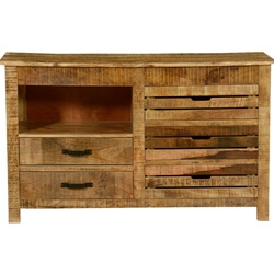Rustic Stripes Mango Wood 5 Drawer Accent Dresser