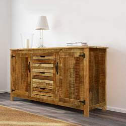 Corning Rustic Stripes Mango Wood 3 Drawer Large Sideboard Cabinet