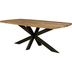 "Double X Mango Wood & Iron 83"" Industrial Dining Table"
