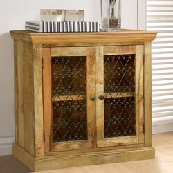 Bellevue Twisted Hearts Grille Mango Wood Freestanding Storage Cabinet