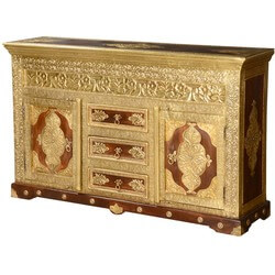 Golden Leaves Mango Wood Brass Inlay 3 Drawer Sideboard Cabinet