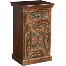 Pennsylvania German Mango Wood Colored Nightstand Mini Cabinet