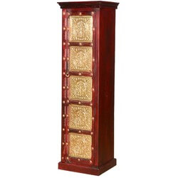 Golden Leaves Brass Inlay Solid Mango Wood Narrow Linen Cabinet