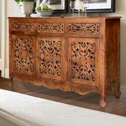 Pennsylvania Mango Wood Hand Carved Rustic Buffet Cabinet
