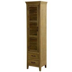 Kaulton Louvered Door Rustic Solid Wood Narrow Tall Linen Cabinet