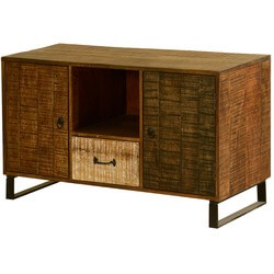 """Wooden Patches Mango Wood & Iron 43"""" Standing TV Console Cabinet"""