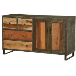 Allison Wooden Patches Rustic Mango Wood 4 Drawer Large Sideboard