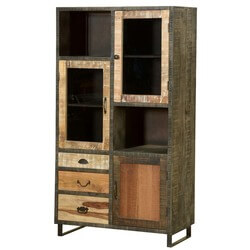 Wooden Patches Mango Wood & Iron Media Wall Unit Cabinet