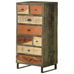 Wooden Patches Mango Wood & Iron 8 Drawer Dresser Chest