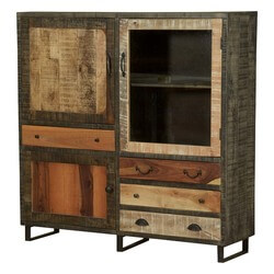 Allison Wooden Patches Mango Wood Standing Industrial Display Cabinet