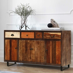 Oakland Rustic Mango Wood 4 Drawer Large Sideboard Cabinet