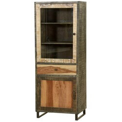 Haverhill Wooden Patches Mango Wood Standing Wall Display Cabinet