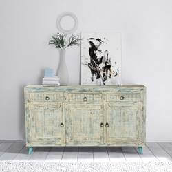White Washed Reclaimed Wood Standing 3 Drawer Rustic Sideboard Cabinet