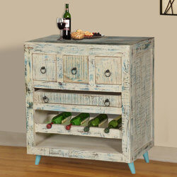 White Washed Reclaimed Wood Wine Rack Bar Cabinet