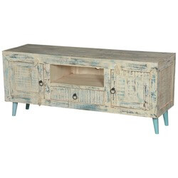 Cape White Washed Reclaimed Wood TV Stand Rustic Media Console Cabinet