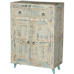 Cape White Washed Reclaimed Wood 1 Drawer Freestanding Storage Cabinet