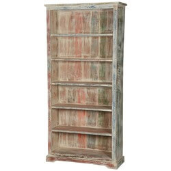 "White Washed Reclaimed Wood 6-Shelf 78.5"" Bookcase Open Shelves"