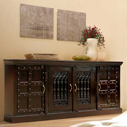 Nottingham Classic Mango Wood Iron Grill Door Extra Large Sideboard