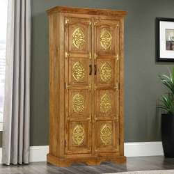 Cornlea Golden Medallion 2 Door Mango Wood Rustic Armoire With Shelves