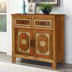 Country Classic Mango Wood Brass Inlay 2 Drawer Rustic Buffet Cabinet