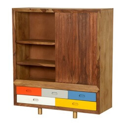 60's Retro Rainbow Mango Wood Freestanding Cabinet w Drawers