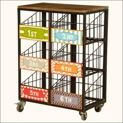 Priority Baskets Iron & Hardwood Rolling 6-Basket Cart