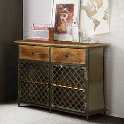 Treviso Mango Wood Top Iron Handcrafted 2 Drawer Industrial Sideboard