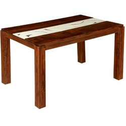 """Stokes White Stripe Solid Wood 56"""" Dining Room Table"""