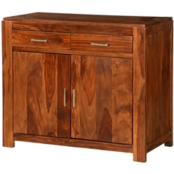 Quiroga Rustic Solid Wood Freestanding 2 Drawer Buffet Cabinet