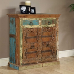 Maris Rustic Reclaimed Wood Gothic Gate 2 Drawer Buffet Cabinet
