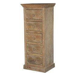 Winter White Sunbursts Mango Wood 5 Drawer Tower Chest