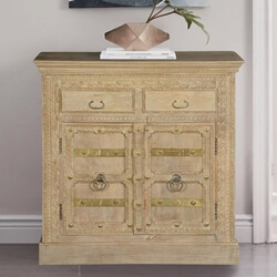 Villita Winter White Handcrafted Mango Wood 2 Drawer Buffet Cabinet