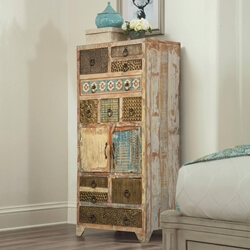 Country Patch Quilt Reclaimed Wood Tall Chest of 11 Drawer And Cabinet