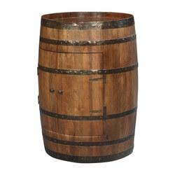Old Fashioned Rain Barrel Mango Wood & Iron Novelty Storage Cabinet