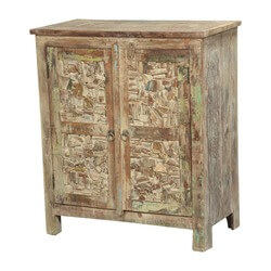 Hartly Reclaimed Wood Hand Carved Faux Stone Wall Door Accent Cabinet