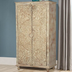 Altona Distressed Hand Carved Rustic Solid Wood Small Armoire Cabinet