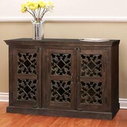 Dennison Diamond Hearts Mango Wood Rustic Buffet Cabinet