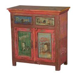 Nostalgic Labels Mango Wood Freestanding 2 Drawer Rustic Buffet Cabinet