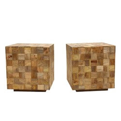 "Modern Mosaic Mango Wood 22"" Cube End Table-Set of 2"