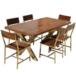 Solid Wood & Iron Double X Pedestal Rustic Dining Table Chair Set