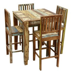 Appalachian Rustic Reclaimed Wood High Bar Table & Chair Set