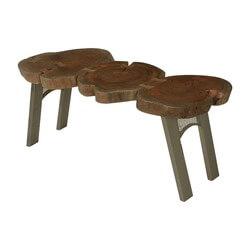 Live Edge Acacia Wood & Iron Accent Coffee Table